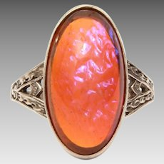 Dragons Breath Sterling Ring, Size 6, Jelly Opal Art Glass