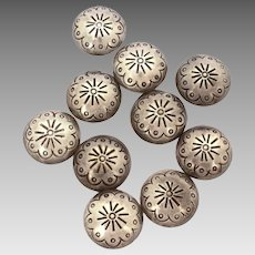 Set of 10 Native American Indian Sterling Concho Buttons, Navajo Stamped Silver Clothing Button Set