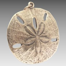 Large James Avery Sterling Sand Dollar Pendant, approx 2""