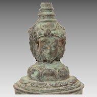 Tibetan Bronze Hand Bell, Buddha Heads & Dragon, Heavy Green Patina