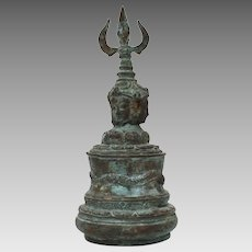 Tibetan Bronze Hand Bell, Buddha Heads & Dragon, Heavy Green Patina