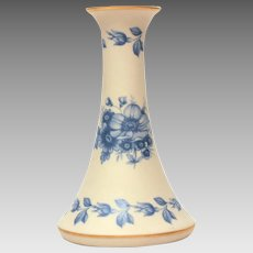 Portuguese Bisque Porcelain Bud Vase, Blue Roses, Hatpin Holder