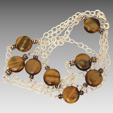 "Sterling Chain Necklace with Brown Tiger Eye Disc Beads, 30.5 "" Long"