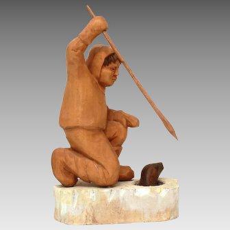 Inuit Carving North Pole Eskimo Seal Hunting signed Bernard Blake, Wood from Admiral MacMillan Boat Bowdoin