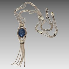 "Boho Turkish Sterling Chain Necklace with Lapis & Niello, 22.25"" Long"