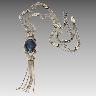"""Boho Turkish Sterling Chain Necklace with Lapis & Niello, 22.25"""" Long"""
