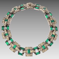 TKF Trifari Art Deco Emerald Rhinestone Bracelet, 1925 Trifari Krussman and Fishel, KFT