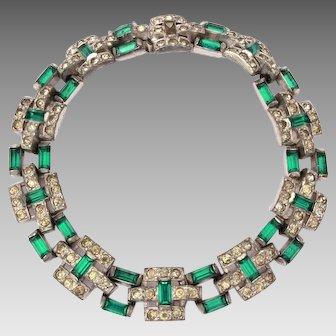 TKF Trifari Art Deco Emerald Rhinestone Bracelet, 1925 Trifari Krussman and Fishel, KFT