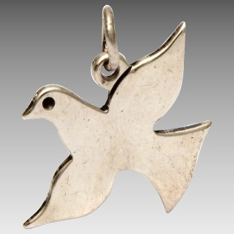 Rare James Avery Sterling Flying Dove Charm, Bird Silhouette