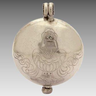 Nepal Sterling Ghau Prayer Box Pendant, Repousse Silver Tibet Gau, Buddhist Relic Locket