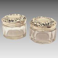 Pair La Pierre Sterling Top Dresser Jars