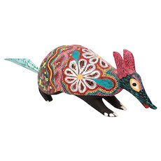 Oaxacan Alebrije Armadillo, Carved Wood Folk Art Signed Pepe Santiago