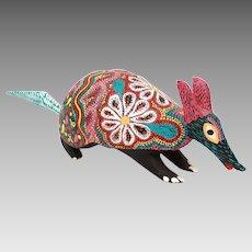 Oaxacan Alebrije Armadillo, Carved Wood Folk Art Signed Pepe Santiago