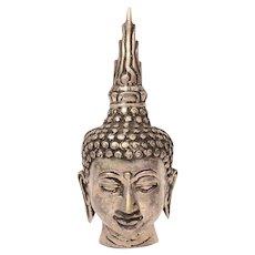 "Tibet Buddha Head 6"", Silver Tone Metal"