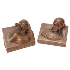 Dante & Beatrice Bronzed Spelter JB Bookends, Jennings
