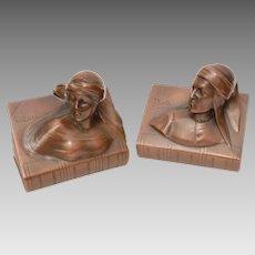 Dante & Beatrice Bronzed Spelter JB Bookends, Jennings