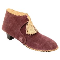 Antique Victorian Velvet Shoe Sewing Etui, Tool & Thimble Holder