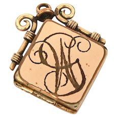 Victorian Gold Filled Watch Fob Locket with Engraved GW Monogram, Hair Locket