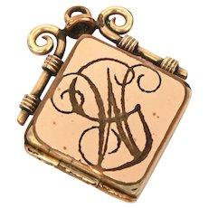 Victorian Gold Filled Watch Fob Locket with Engraved GW Monogram, Hair Locket