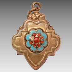 Victorian Pressed Brass Charm or Large Pendant with Enamel Flower, Puffy Hollow