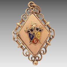 Knights of Pythias Pocket Watch Fob Locket, Antique Enameled FCB Fraternal Organization