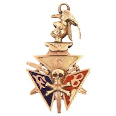 Knights of Pythias Jeweled Skull & Crossbones Pocket Watch Fob Locket, Antique Enameled FCB Fraternal Organization