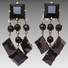Black Diamond Shaped Rhinestone Dangle Clip On Earrings