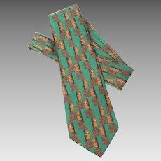Hermes Silk Tie, Green with Brown Bears & Red Leaves, 7282MA