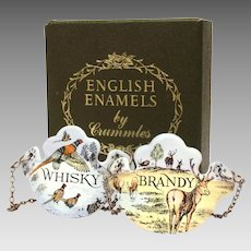 Crummles Enameled Bottle Tickets Whisky & Brandy Tags Labels