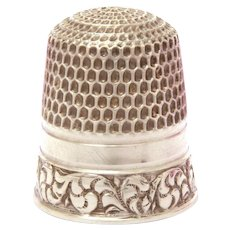 Sterling Thimble Goldsmith Stern Co, GSC Fouled Anchor, Baroque Style