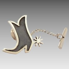 James Avery Sterling Cowboy Boot with Star Spur Tie Tack Pin