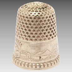 Sterling Landscape Thimble Engraved Name Maggie with Village Scene Size 9