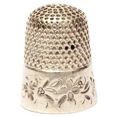 Sterling Thimble with Flowers and Berries, Size 7