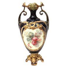 """Continental Majolica Vase with Transferware Apples and Blossoms, 8"""" High"""