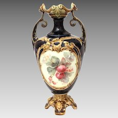 "Continental Majolica Vase with Transferware Apples and Blossoms, 8"" High"