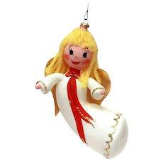 Italian Blown Glass Flying Angel Christmas Ornament, Italy Xmas Decoration