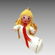 Italian Blown Glass Flying Angel Christmas Ornament, Italy Xmas Decoration