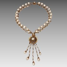 Miriam Haskell Faux Baroque Pearls & Chains Necklace & Large Pendant with Dangles