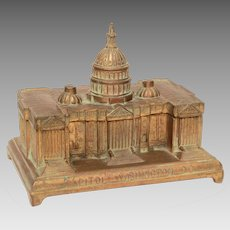 Antique Capitol Building Washington DC Pot Metal Box by Jennings Bros.