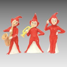 Christmas Elf Band Germany Bisque Porcelain 3 Elves