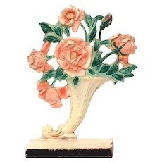 Hubley Doorstop Pink Roses in Cornucopia Vase #441 Cast Iron, Original Paint