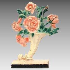 Hubley Doorstop Pink Roses in Cornucopia Vase #441 Cast Iron, Original Paint