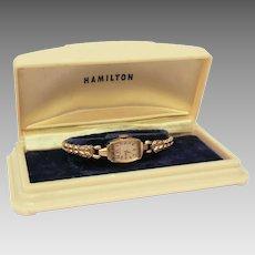 14k Gold Ladies Hamilton Wrist Watch in Presentation Box