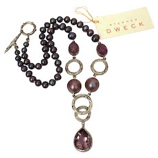 Stephen Dweck Amethyst Mabe Pearls Chalcedony Sterling Necklace with Tag