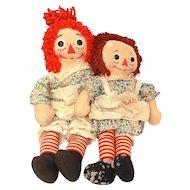 """2 Knickerbocker Raggedy Ann Dolls with Tags, 18"""" & 19"""""""