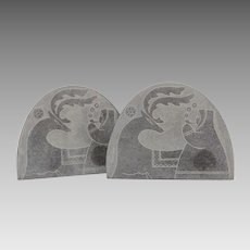 Carved Inuit Soapstone Bookends with Eskimo & Caribou, Signed APT-601