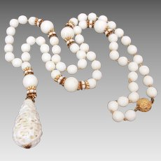 Mid Century White Bead Necklace with Spaghetti Glass Pendant