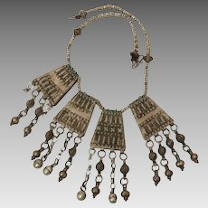 Ethnic Tribal Bedouin Necklace 4 Large Pendants, Chain & Bead Dangles