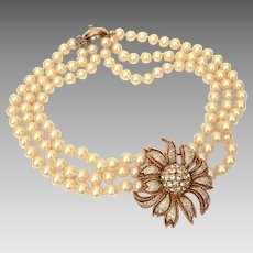 """Panetta Large Pave Rhinestone Flower Pendant on 3 Strands of Faux Pearls, 16.5"""" Long"""