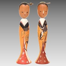 Japanese Kokeshi Geisha Wood Dolls with Movable Heads, Signed